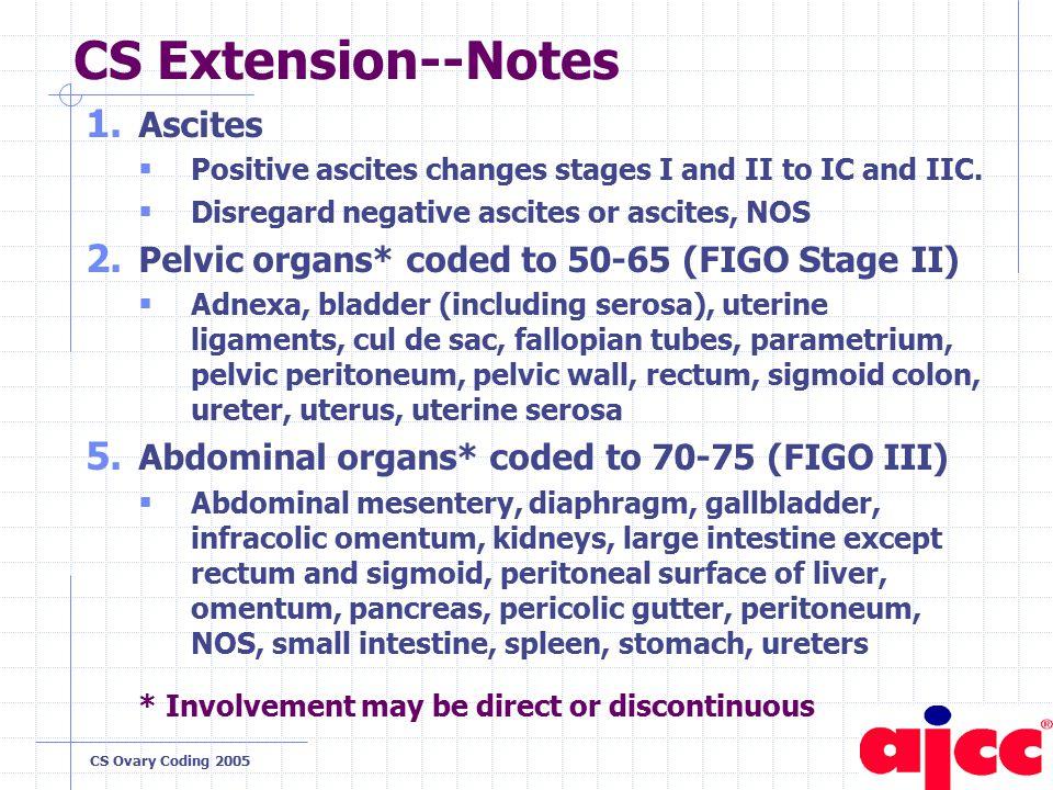 CS Ovary Coding 2005 CS Extension--Notes 1.