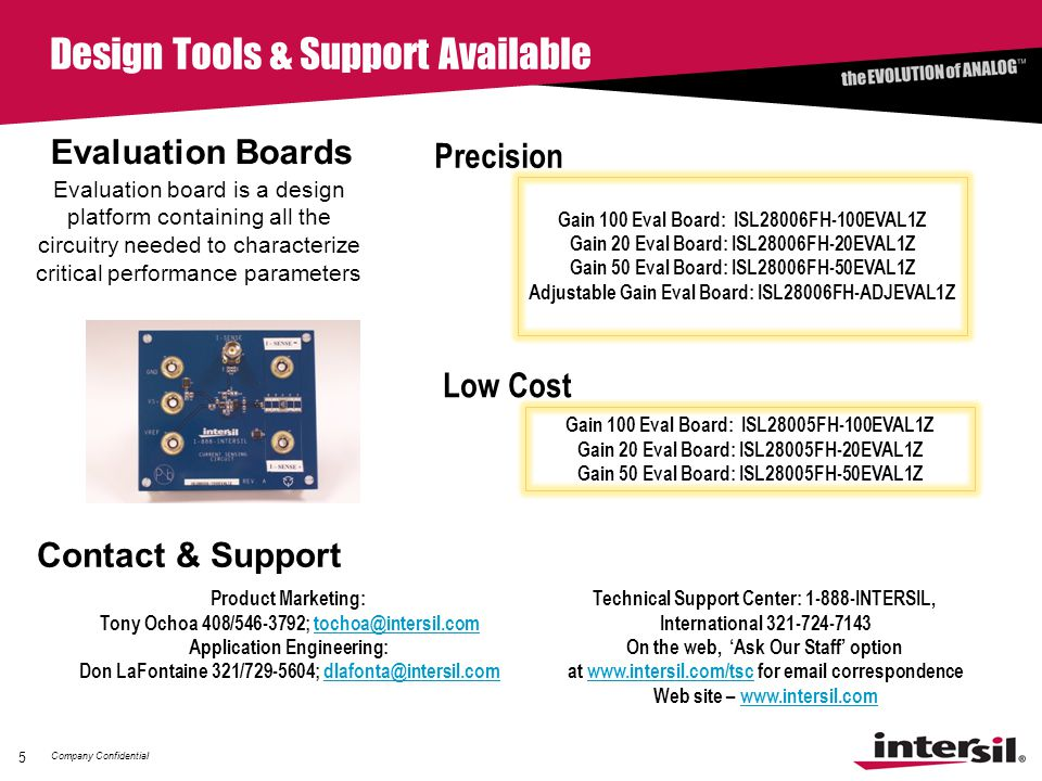 Company Confidential 5 Design Tools & Support Available Evaluation Boards Evaluation board is a design platform containing all the circuitry needed to characterize critical performance parameters Contact & Support Product Marketing: Tony Ochoa 408/546-3792; tochoa@intersil.comtochoa@intersil.com Application Engineering: Don LaFontaine 321/729-5604; dlafonta@intersil.comdlafonta@intersil.com Technical Support Center: 1-888-INTERSIL, International 321-724-7143 On the web, 'Ask Our Staff' option at www.intersil.com/tsc for email correspondencewww.intersil.com/tsc Web site – www.intersil.comwww.intersil.com Gain 100 Eval Board: ISL28006FH-100EVAL1Z Gain 20 Eval Board: ISL28006FH-20EVAL1Z Gain 50 Eval Board: ISL28006FH-50EVAL1Z Adjustable Gain Eval Board: ISL28006FH-ADJEVAL1Z Precision Gain 100 Eval Board: ISL28005FH-100EVAL1Z Gain 20 Eval Board: ISL28005FH-20EVAL1Z Gain 50 Eval Board: ISL28005FH-50EVAL1Z Low Cost