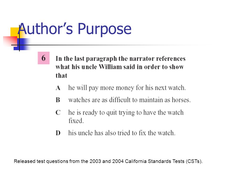 Author's Purpose Released test questions from the 2003 and 2004 California Standards Tests (CSTs).