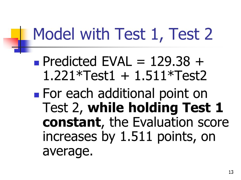 13 Model with Test 1, Test 2 Predicted EVAL = 129.38 + 1.221*Test1 + 1.511*Test2 For each additional point on Test 2, while holding Test 1 constant, the Evaluation score increases by 1.511 points, on average.