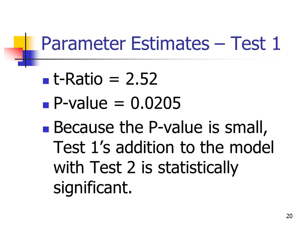 20 Parameter Estimates – Test 1 t-Ratio = 2.52 P-value = 0.0205 Because the P-value is small, Test 1's addition to the model with Test 2 is statistically significant.