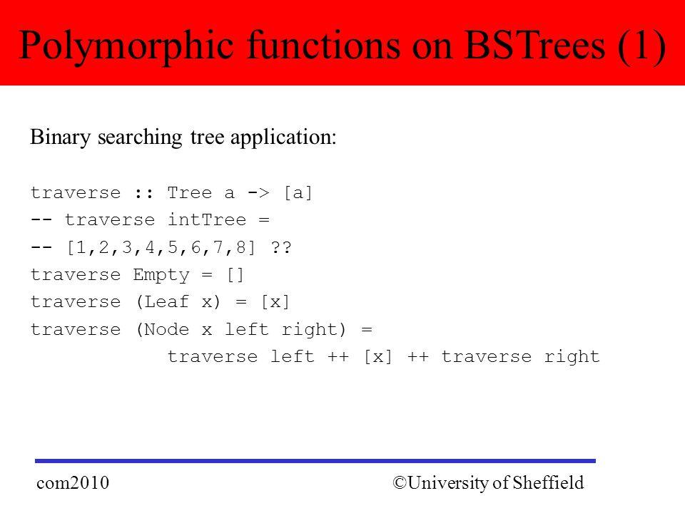 Binary searching tree application: traverse :: Tree a -> [a] -- traverse intTree = -- [1,2,3,4,5,6,7,8] .