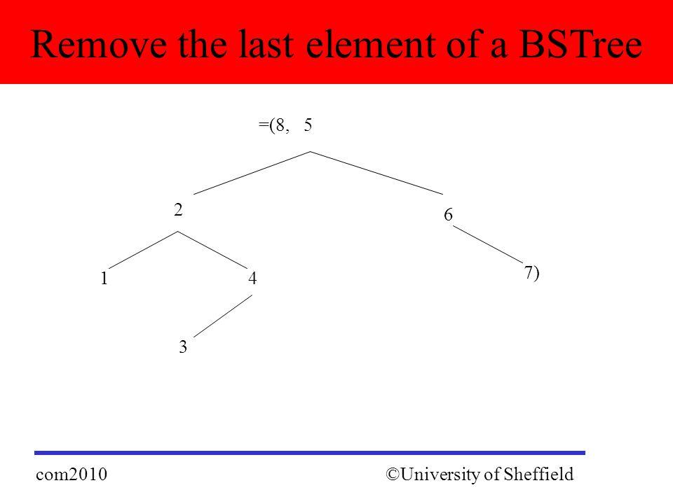 Remove the last element of a BSTree ©University of Sheffieldcom2010 2 =(8, 5 4 6 3 1 7)