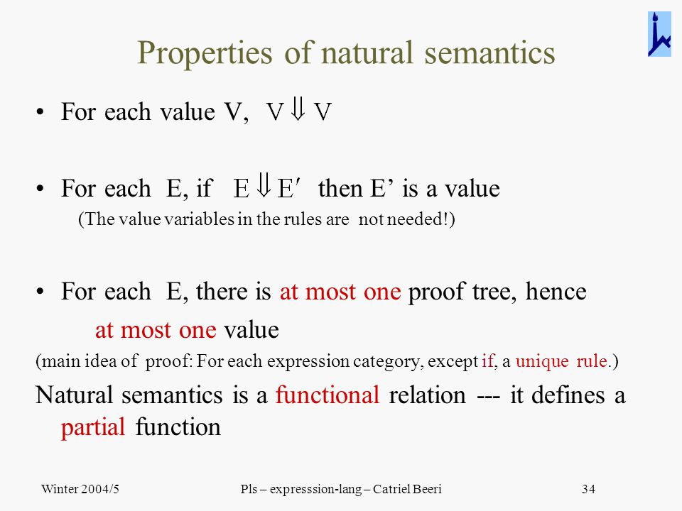 Winter 2004/5Pls – expresssion-lang – Catriel Beeri34 Properties of natural semantics For each value V, For each E, if then E' is a value (The value v