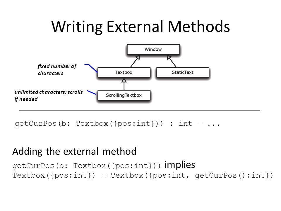 Writing External Methods getCurPos(b: Textbox({pos:int})) : int =...