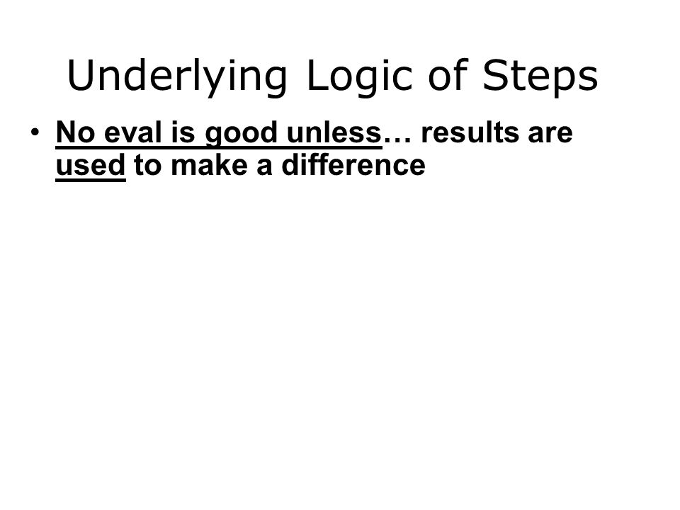 Underlying Logic of Steps No eval is good unless… results are used to make a difference