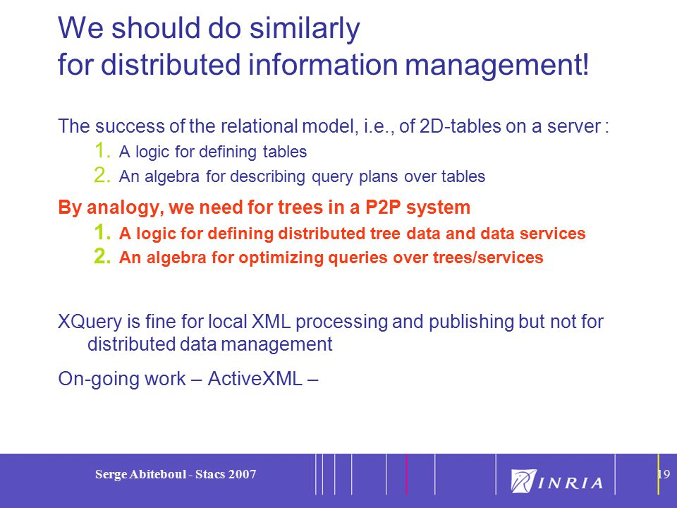 19 Serge Abiteboul - Stacs 200719 We should do similarly for distributed information management.