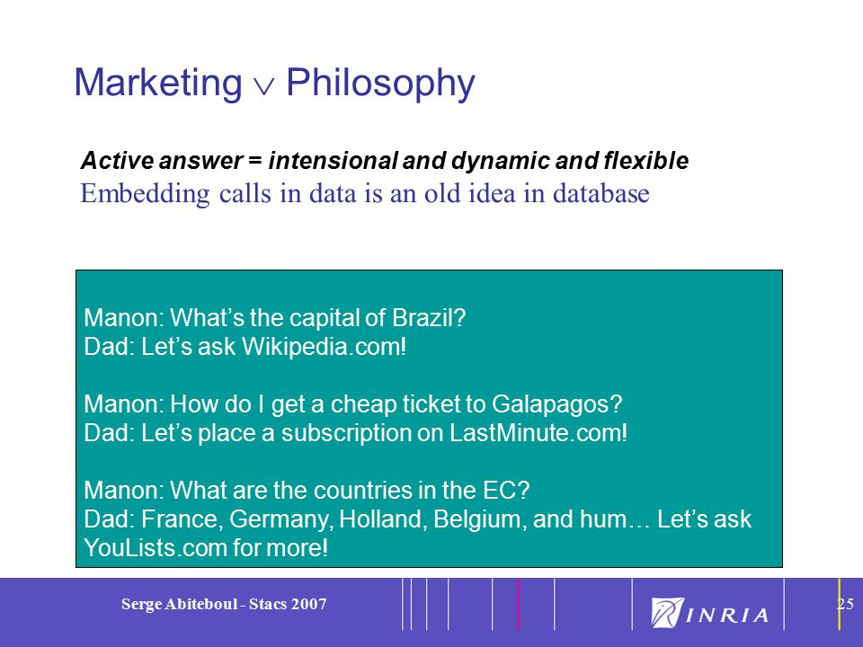25 Serge Abiteboul - Stacs 200725 Marketing  Philosophy Manon: What's the capital of Brazil.