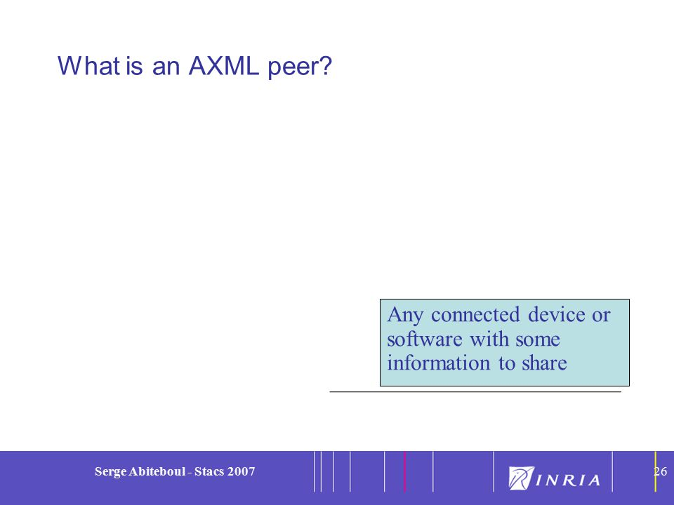 26 Serge Abiteboul - Stacs 200726 What is an AXML peer.