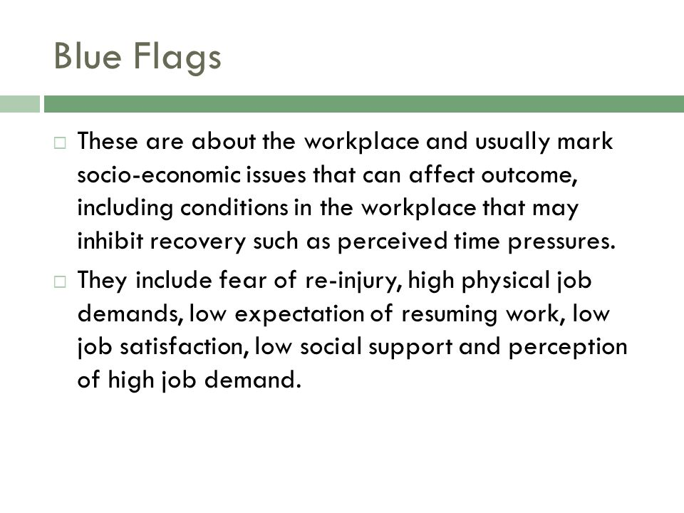 Blue Flags  These are about the workplace and usually mark socio-economic issues that can affect outcome, including conditions in the workplace that may inhibit recovery such as perceived time pressures.