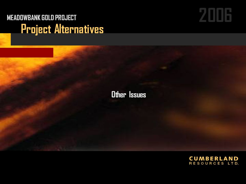2006 Project Alternatives Other Issues MEADOWBANK GOLD PROJECT