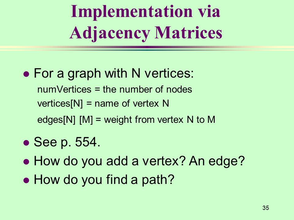 35 Implementation via Adjacency Matrices l For a graph with N vertices: numVertices = the number of nodes vertices[N] = name of vertex N edges[N] [M]