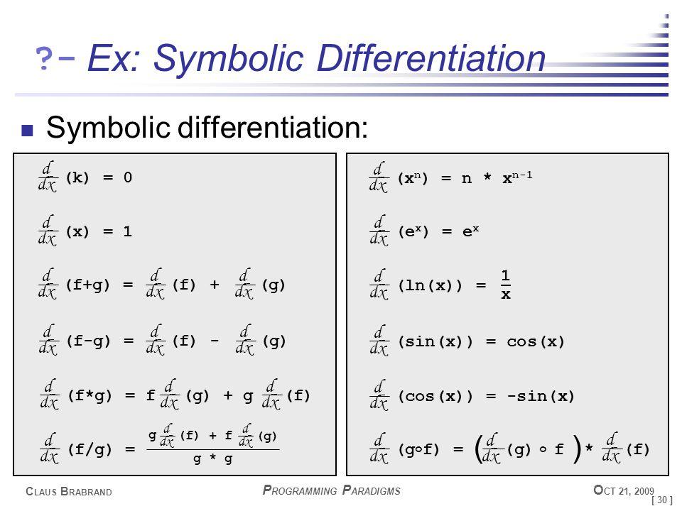 [ 30 ] C LAUS B RABRAND ?- P ROGRAMMING P ARADIGMS O CT 21, 2009 Ex: Symbolic Differentiation Symbolic differentiation: d dx (k) = 0 d dx (x) = 1 d dx (f+g) = d dx (f) + d dx (g) d dx (f-g) = d dx (f) - d dx (g) d dx (f*g) = f d dx (g) + g d dx (f) d dx (f/g) = d dx (f) + f d dx (g) g g * g d dx (x n ) = n * x n-1 d dx (e x ) = e x d dx (ln(x)) = 1x1x d dx (sin(x)) = cos(x) d dx (cos(x)) = -sin(x) d dx (g o f) = (g) o d dx f * () d dx (f)