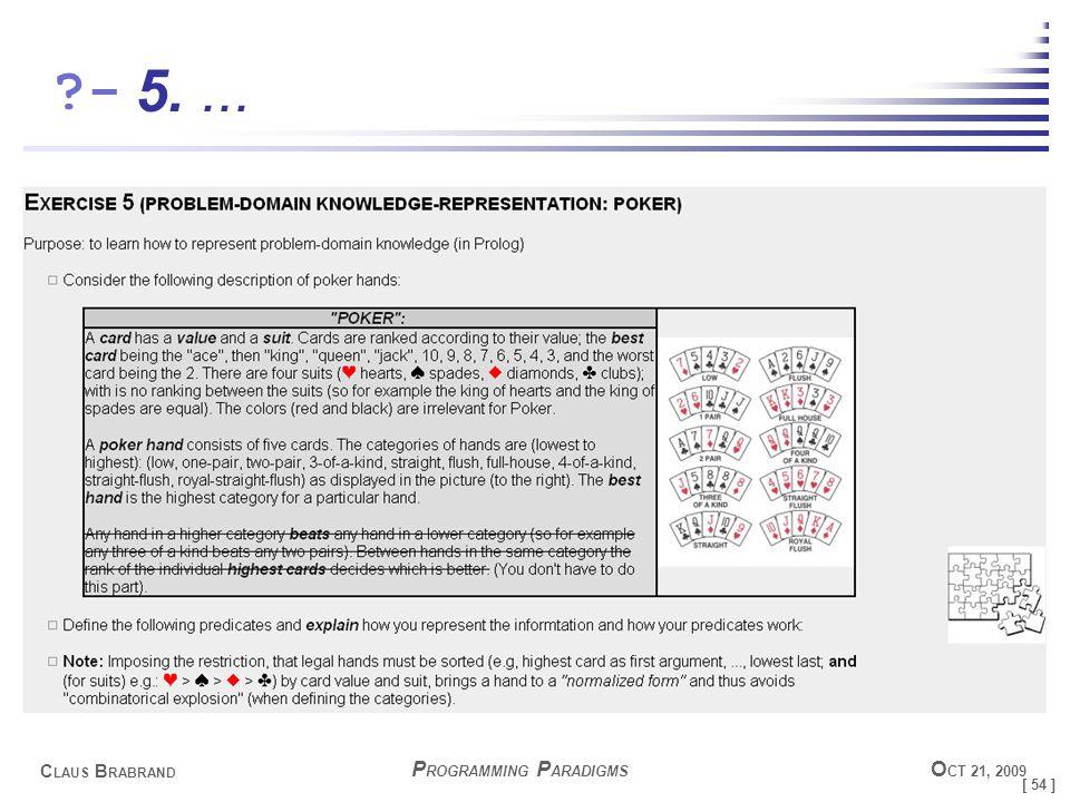 [ 54 ] C LAUS B RABRAND ?- P ROGRAMMING P ARADIGMS O CT 21, 2009 5....
