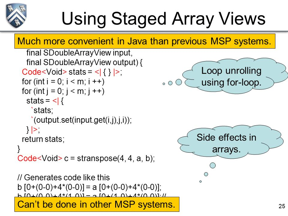 25 Using Staged Array Views public Code stranspose(int m, int n, final SDoubleArrayView input, final SDoubleArrayView output) { Code stats = ; for (in
