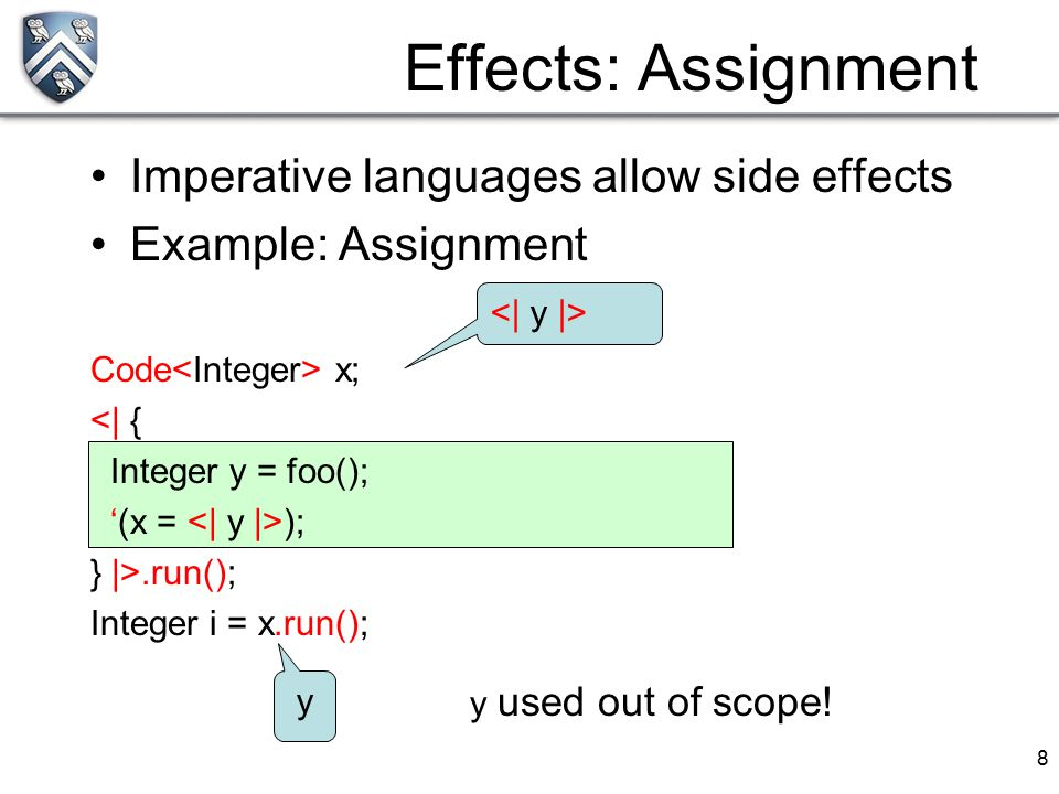 8 Imperative languages allow side effects Example: Assignment Code x; <| { Integer y = foo(); '(x = ); } |>.run(); Integer i = x.run(); Effects: Assig