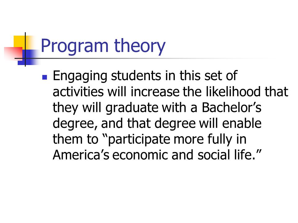 Program theory Engaging students in this set of activities will increase the likelihood that they will graduate with a Bachelor's degree, and that degree will enable them to participate more fully in America's economic and social life.