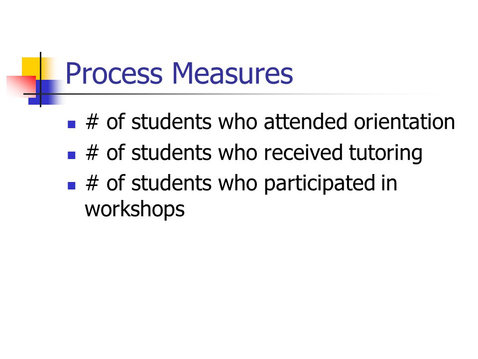 Process Measures # of students who attended orientation # of students who received tutoring # of students who participated in workshops