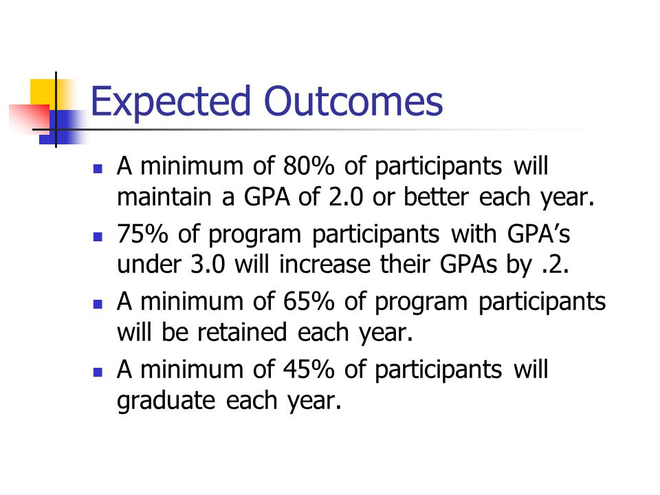 Expected Outcomes A minimum of 80% of participants will maintain a GPA of 2.0 or better each year.