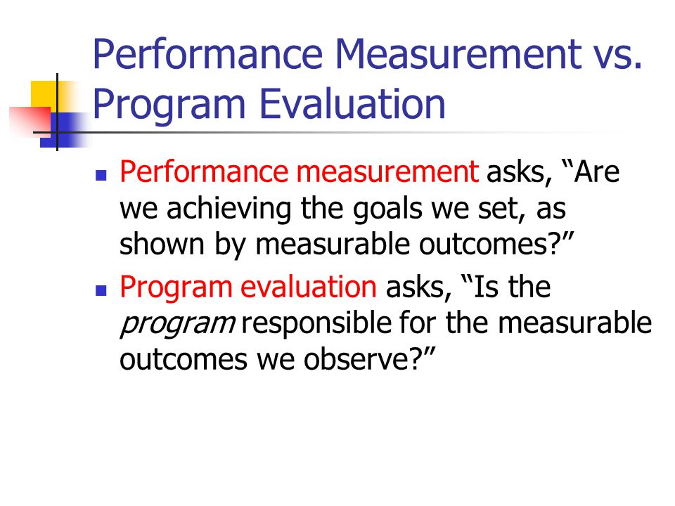 Performance Measurement vs.