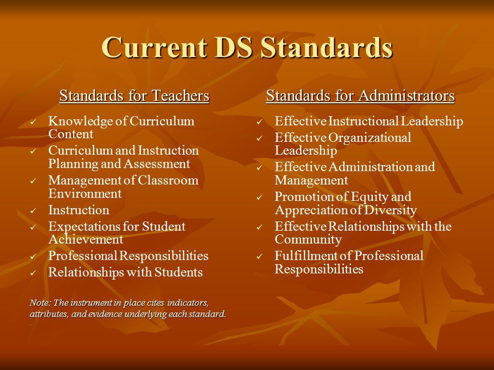 Current DS Standards Standards for Teachers Knowledge of Curriculum Content Curriculum and Instruction Planning and Assessment Management of Classroom Environment Instruction Expectations for Student Achievement Professional Responsibilities Relationships with Students Note: The instrument in place cites indicators, attributes, and evidence underlying each standard..