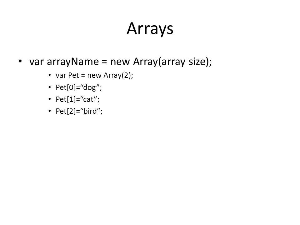 """Arrays var arrayName = new Array(array size); var Pet = new Array(2); Pet[0]=""""dog""""; Pet[1]=""""cat""""; Pet[2]=""""bird"""";"""