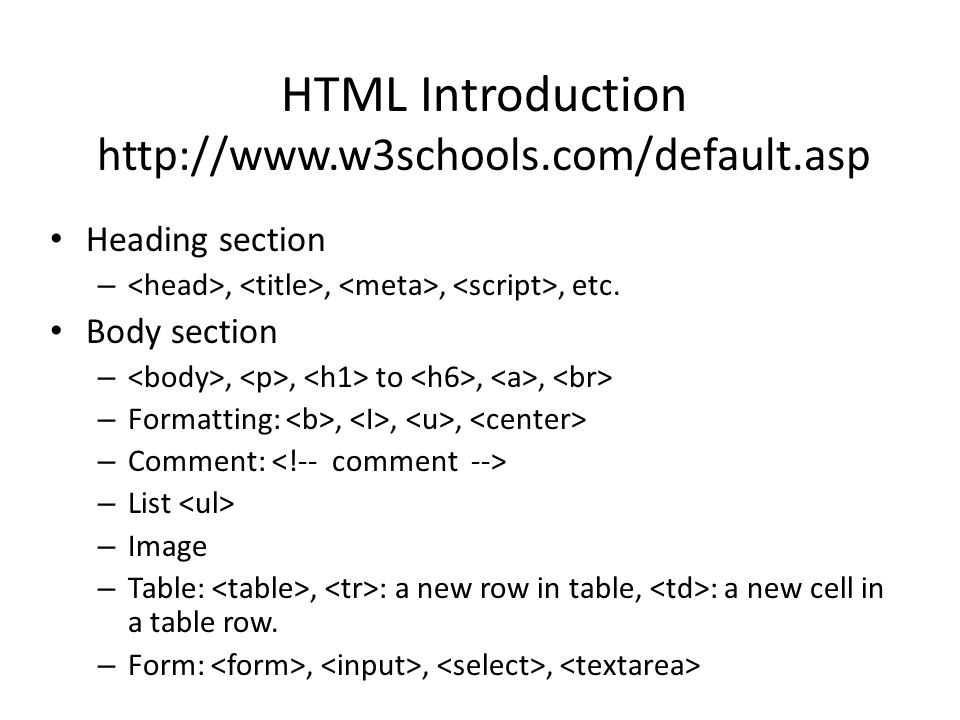 HTML Introduction http://www.w3schools.com/default.asp Heading section –,,,, etc.