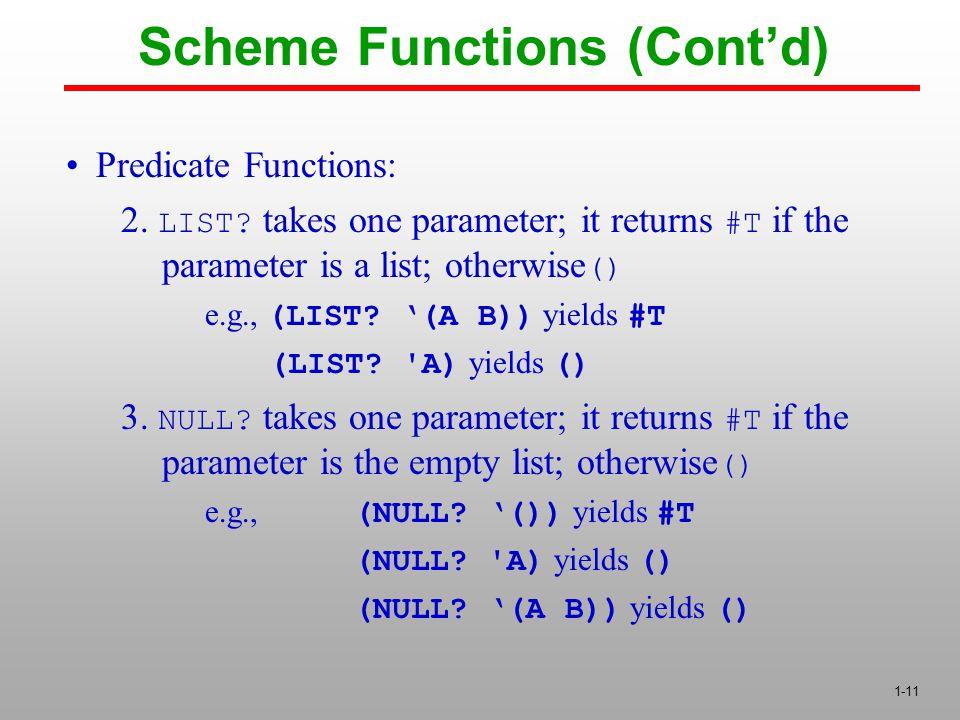 1-11 Predicate Functions: 2. LIST.