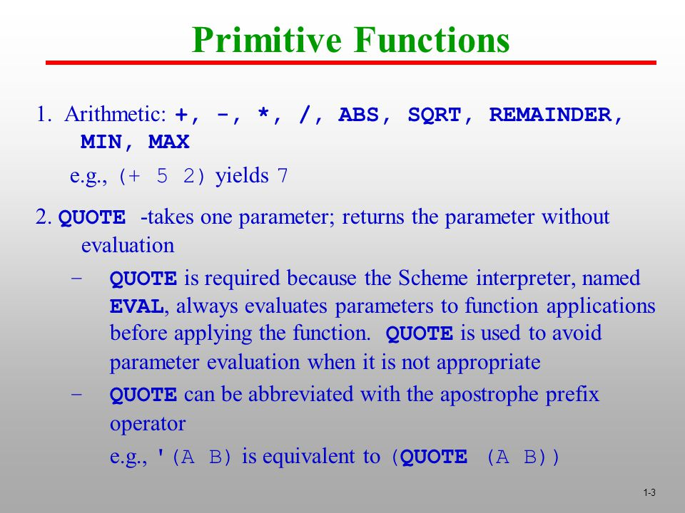 1-3 Primitive Functions 1.