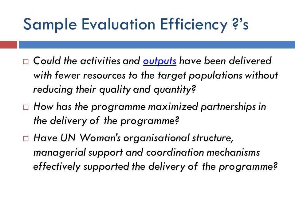 Sample Evaluation Efficiency ?'s  Could the activities and outputs have been delivered with fewer resources to the target populations without reducin
