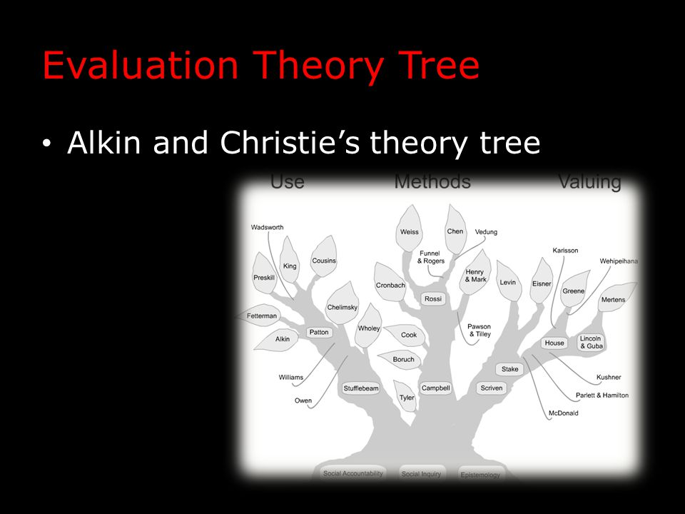 Evaluation Theory Tree Alkin and Christie's theory tree