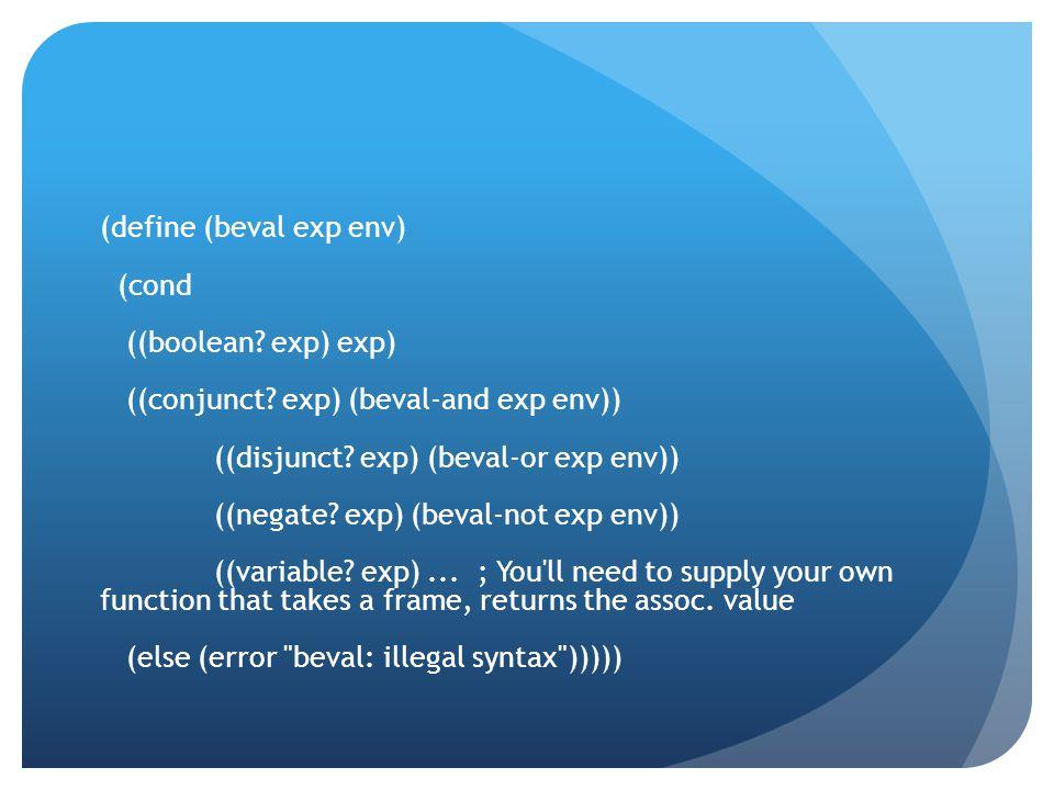 (define (beval exp env) (cond ((boolean. exp) exp) ((conjunct.