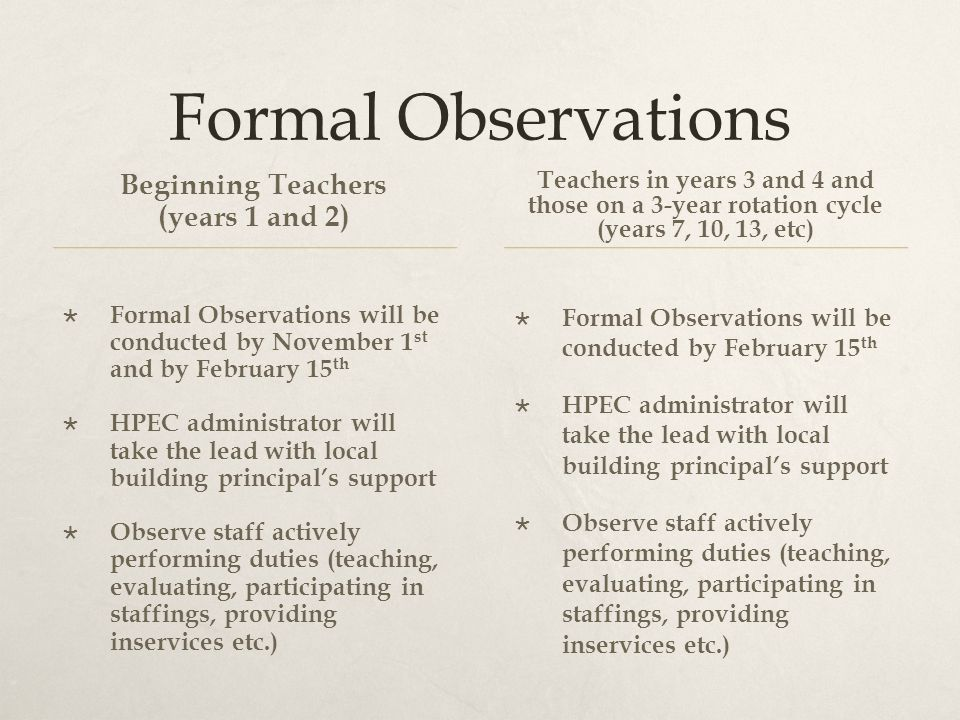 Formal Observations Beginning Teachers (years 1 and 2)  Formal Observations will be conducted by November 1 st and by February 15 th  HPEC administrator will take the lead with local building principal's support  Observe staff actively performing duties (teaching, evaluating, participating in staffings, providing inservices etc.) Teachers in years 3 and 4 and those on a 3-year rotation cycle (years 7, 10, 13, etc)  Formal Observations will be conducted by February 15 th  HPEC administrator will take the lead with local building principal's support  Observe staff actively performing duties (teaching, evaluating, participating in staffings, providing inservices etc.)
