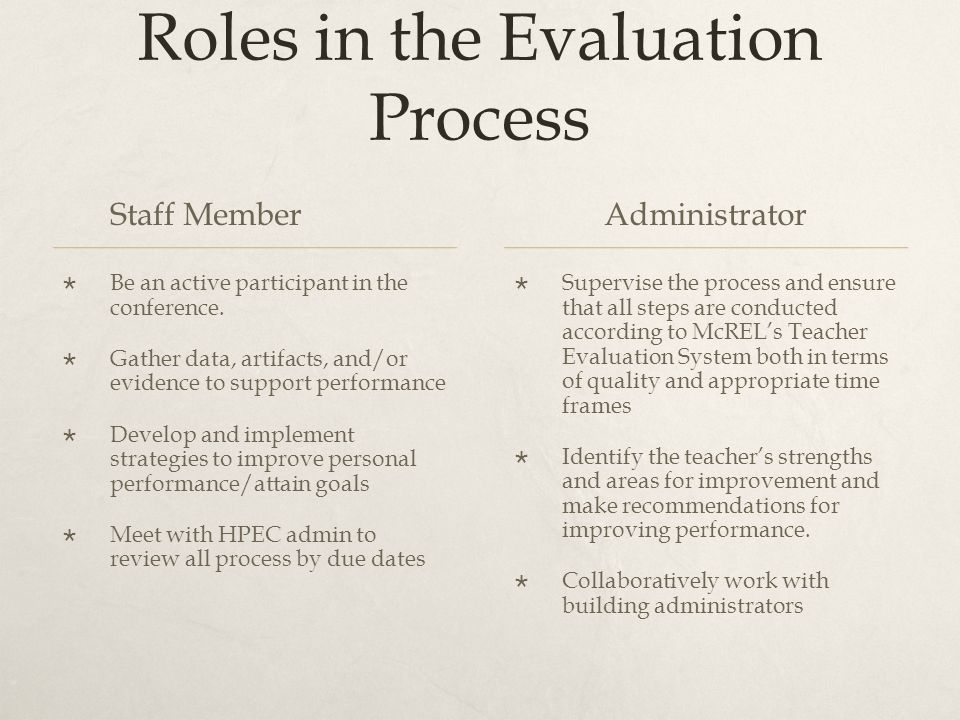 Roles in the Evaluation Process Staff Member  Be an active participant in the conference.