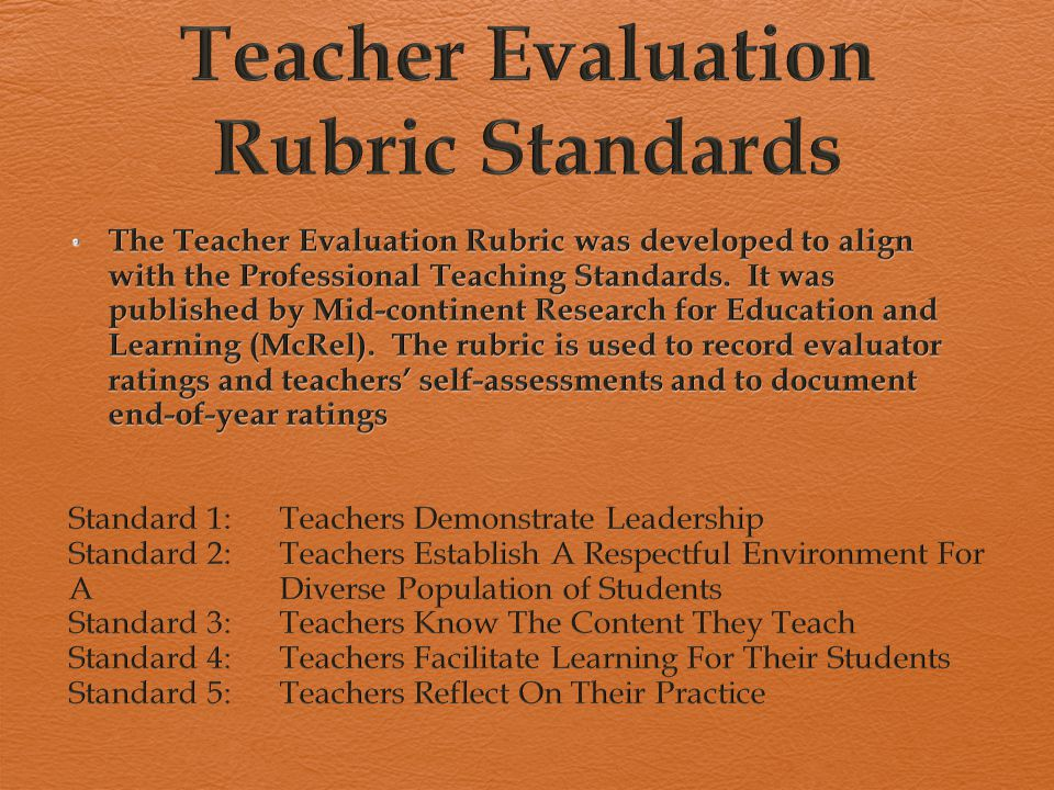 Examples Standard 1 Teachers Demonstrate Leadership  In the classroom  In the school  Lead in the teaching profession  Advocate for schools and students  Demonstrate high ethical standards Standard 2 Teachers Establish a Respectful Environment for a Diverse Population  Provide a positive and nurturing environment  Embrace diversity  Treat students as individuals  Adapt your teaching  Work collaboratively with families and others