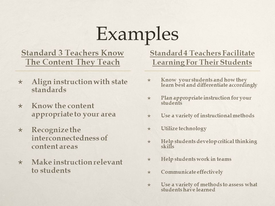 Examples Standard 3 Teachers Know The Content They Teach  Align instruction with state standards  Know the content appropriate to your area  Recognize the interconnectedness of content areas  Make instruction relevant to students Standard 4 Teachers Facilitate Learning For Their Students  Know your students and how they learn best and differentiate accordingly  Plan appropriate instruction for your students  Use a variety of instructional methods  Utilize technology  Help students develop critical thinking skills  Help students work in teams  Communicate effectively  Use a variety of methods to assess what students have learned