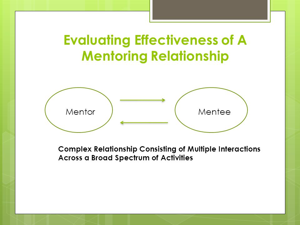 Evaluating Effectiveness of A Mentoring Relationship MentorMentee Complex Relationship Consisting of Multiple Interactions Across a Broad Spectrum of Activities