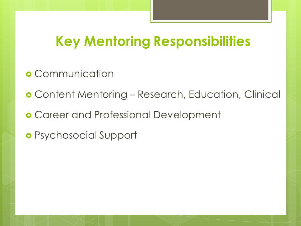 Key Mentoring Responsibilities  Communication  Establish expectations  Frequency of meetings  Listening skills  Prompt feedback  Manage disagreements and conflict  Foster trust