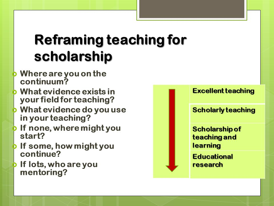 Reframing teaching for scholarship  Where are you on the continuum.