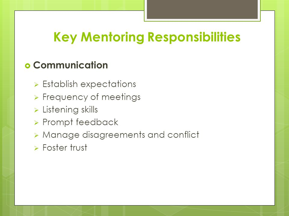 Key Mentoring Responsibilities  Communication  Establish expectations  Frequency of meetings  Listening skills  Prompt feedback  Manage disagreements and conflict  Foster trust