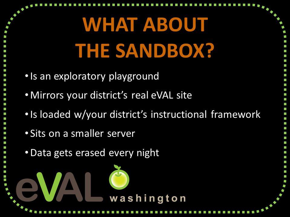 WHAT ABOUT THE SANDBOX. WHAT ABOUT THE SANDBOX.