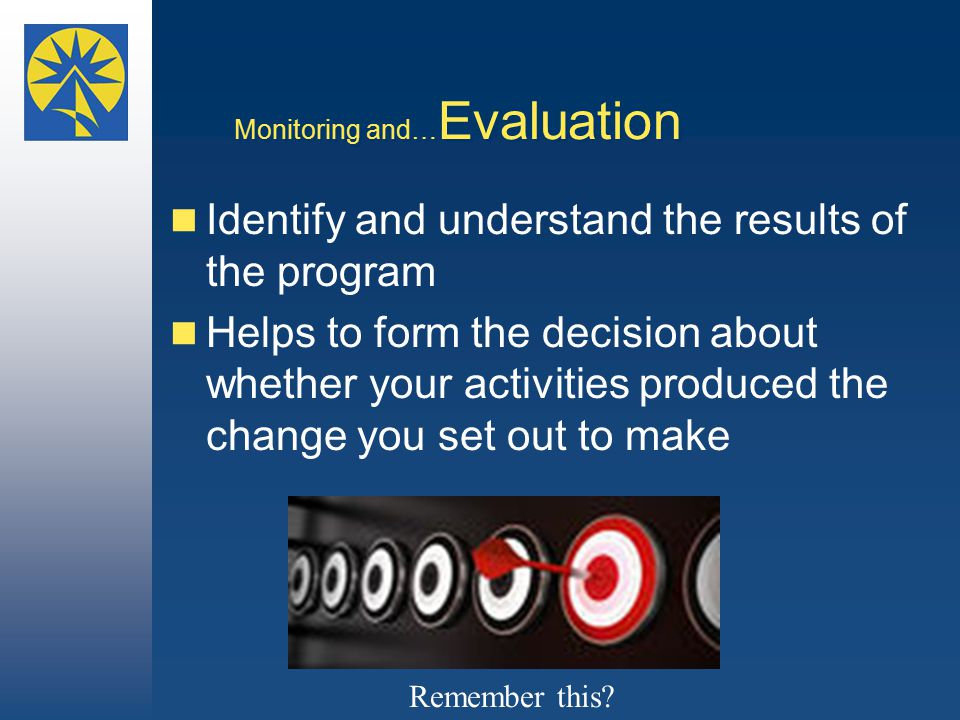Monitoring and… Evaluation Identify and understand the results of the program Helps to form the decision about whether your activities produced the change you set out to make Remember this?