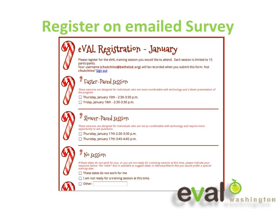 Register on emailed Survey
