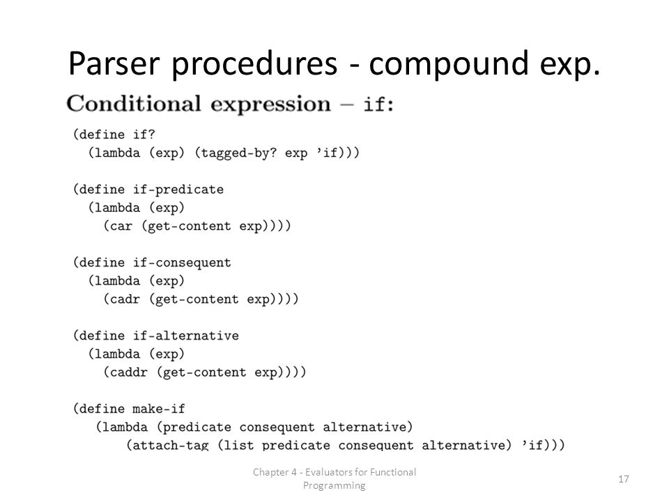 Parser procedures - compound exp. 17 Chapter 4 - Evaluators for Functional Programming
