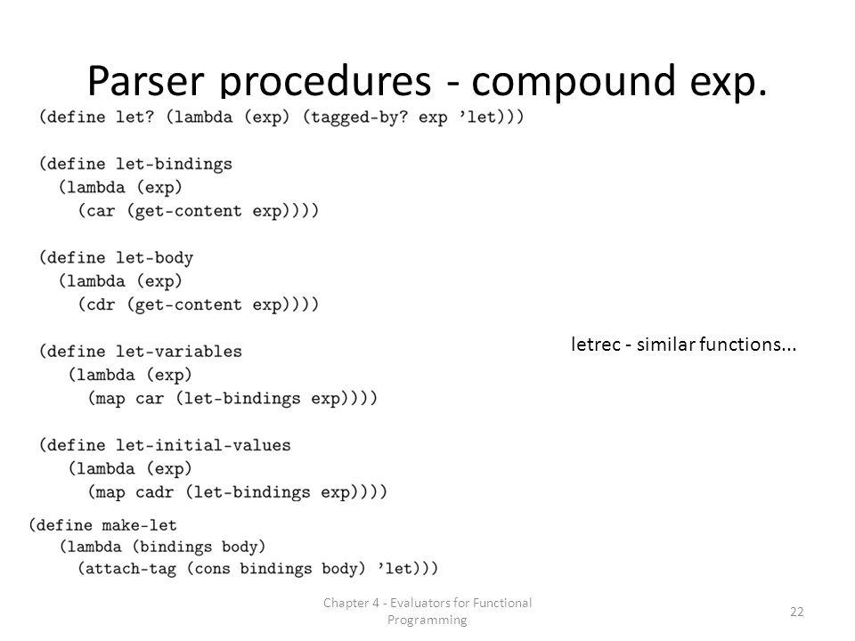 Parser procedures - compound exp.