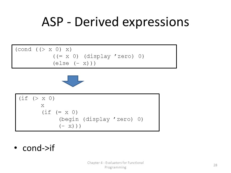 ASP - Derived expressions cond->if (cond ((> x 0) x) ((= x 0) (display 'zero) 0) (else (- x))) (if (> x 0) x (if (= x 0) (begin (display 'zero) 0) (- x))) 28 Chapter 4 - Evaluators for Functional Programming