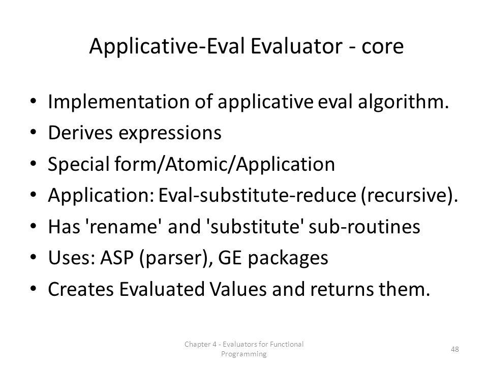 Applicative-Eval Evaluator - core Implementation of applicative eval algorithm.