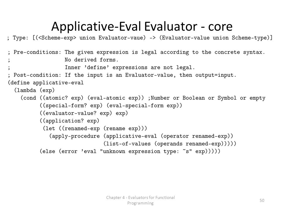 Applicative-Eval Evaluator - core 50 Chapter 4 - Evaluators for Functional Programming