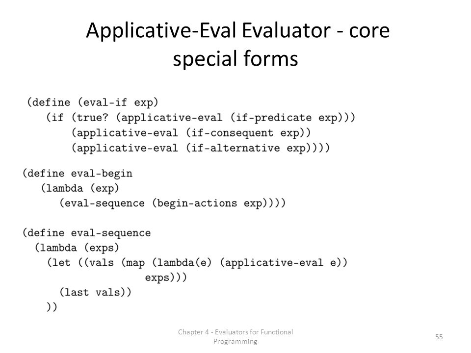 Applicative-Eval Evaluator - core special forms 55 Chapter 4 - Evaluators for Functional Programming