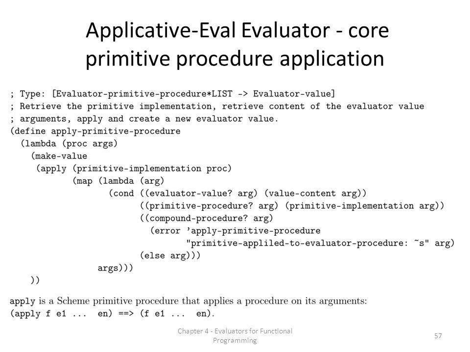 Applicative-Eval Evaluator - core primitive procedure application 57 Chapter 4 - Evaluators for Functional Programming